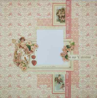 "Handmade Mixed Media 12"" x 12"" Scrapbook Page - Valentine!"