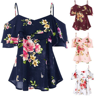 Womens Off Shoulder Sling Short Sleeve Blouse V-Neck Floral Shirt Summer Top AU