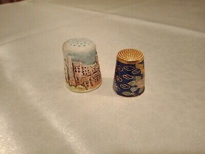 Collectible finger thimbles 1 Cloisonne and 1 clay
