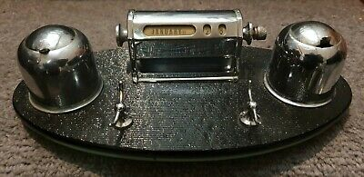 Vintage Art Deco 1930s Chrome & Black Perpetual Drum Desk Calendar Ink Wells