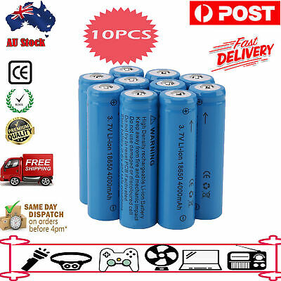 10 X/4 X  3.7V Rechargeable 4000mAh 18650 Li-ion Batteries For Headlamp AU Stock