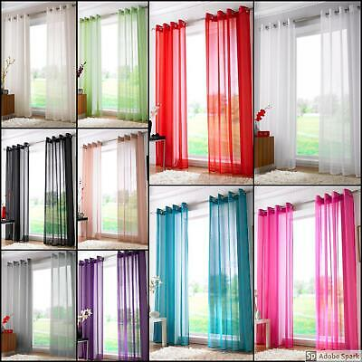 Plain EYELET Ring Top VOILE Sheer Curtain Panels 10 COLOURS Net Organza Drapes