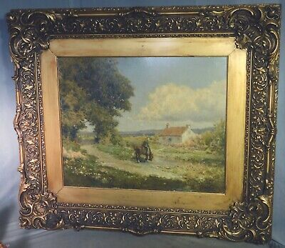 Antique Oil Painting Barbizon School French landscape Horse Rider Cottage FRAME
