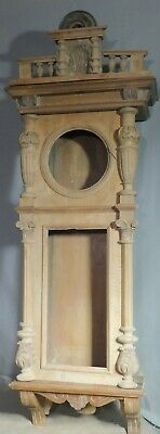 Antique Grande Sonnerie Vienna Regulator Clock Case Carved Brass Trim AS IS OLD