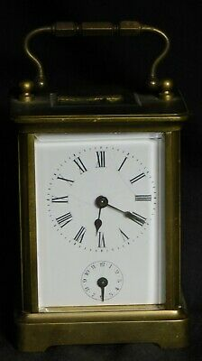 Antique Brass Glass Carriage Alarm Clock RUNS Needs some Glass American FINE OLD