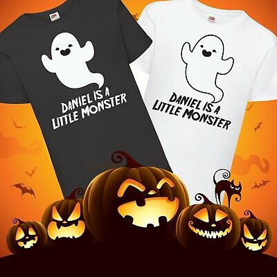 Kids Personalised Little Monster Halloween Ghost T-Shirt  - Any Name Trick Treat