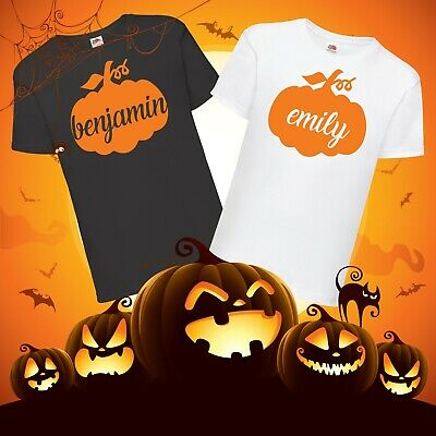 Kids Personalised Halloween Pumpkin T-Shirt - Customise Any Name Trick or Treat