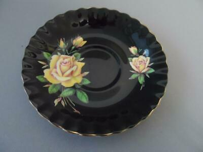 Royal Albert Yellow  Rose With Black Background Saucer