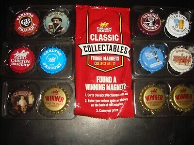 Carlton Draught Classic Collectables Fridge Magnets Bottle Caps x12