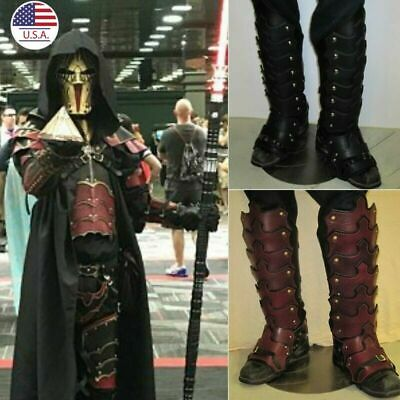 Knight Leather Gaiters Men Gaiters Stylish Chaps Armour Cosplay Costume 2Pc