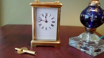 Antique Brass Cased Carriage Clock / Timepiece ~ 8 Day with Key