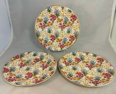 "Set of 3 Royal Winton Grimwades Marguerite (Gold Trim) 8 1/8"" Salad Plates"