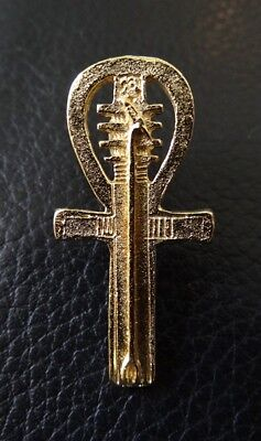 'Ankh Djed Was' Stud-back Brooch in 22kt Gold on Fine Pewter