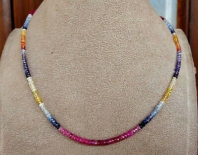 4 mm Natural Multi Sapphire mix precious Gemstones faceted beaded Necklace