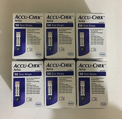 Accu-chek Aviva test strips 50 X 6 Boxes ( All together 300 Strips ) Exp-05/2020