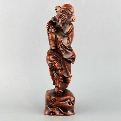 Collect China Old Boxwood Hand-Carved Read Book Immortal Delicate Decor Statue