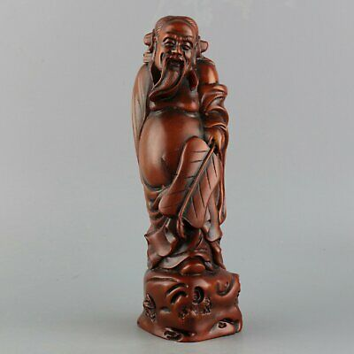 Collect China Old Boxwood Hand-Carve Immortal Moral Auspicious Bring Luck Statue