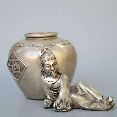 Collectable Handwork Old Miao Silver Carve Drunk Poet Delicate Decorate Statue