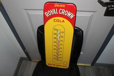 "Vintage 1940s RC Royal Crown Cola Soda Pop Gas Station26"" Metal Thermometer Sign"