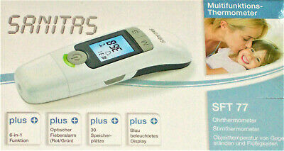 Sanitas 6 in 1 Multifunktions Thermometer SFT 77 Ohr+Stirn Thermometer NEU