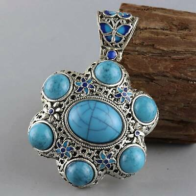 Collect Old Cloisonne Inlay Turquoise Carve Flower & Butterfly Delicate Pendant