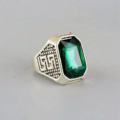 Collect Old Miao Silver Inlay Zircon Hand-Carved Delicate Noble Decorate Ring