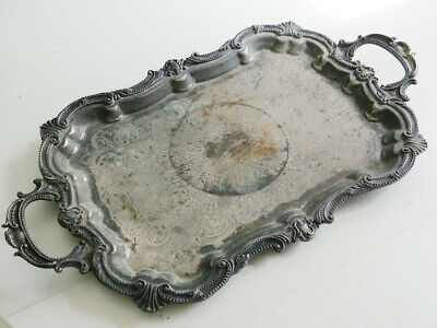 Shabby Birmingham Silver Plate Ornate Footed Tray Patina Curvy Chased Engraved