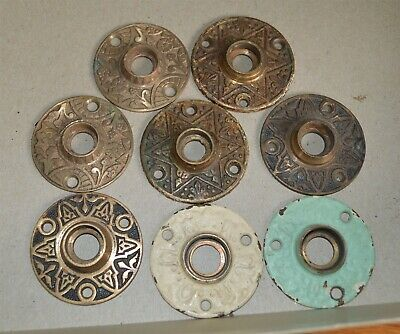 8 East Lake Antique Victorian Solid Brass Door knob back platesrosettes