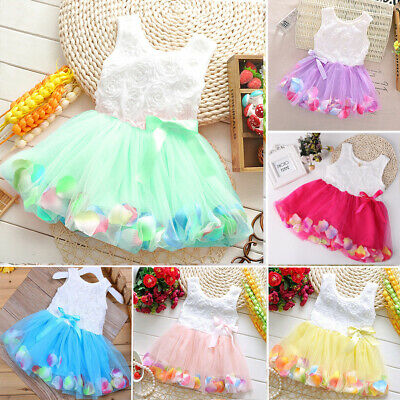 Newborn Flower Pageant Princess Dress Baby Girl Wedding Party Tutu Dresses LU