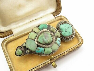 Large Vintage Antique Sterling Silver 925 Turquoise Brooch Pin