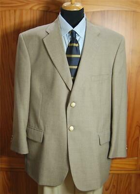 Stafford Beige Two Bttn PolyWool Blend Blazer Sport Coat Suit Jacket 44S