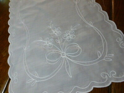 Romantic White Sheer  Lace Embroidered Table Runner Vanity Dresser Scarf