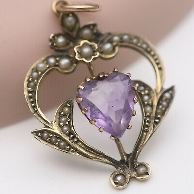 Antique Victorian 9k Gold Natural Amethyst Heart Seed Pearl Lavaliere Pendant