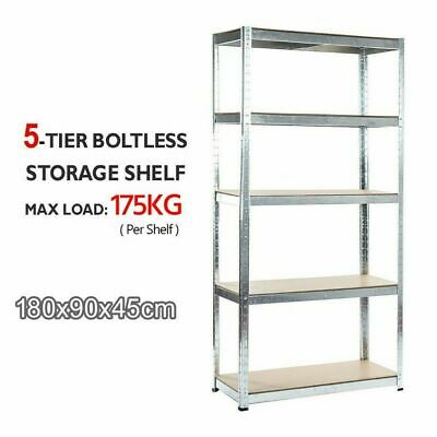 5 Tier Boltless Steel Shelving Garage Storage Racking Galvanised 180 x 90 x 45cm