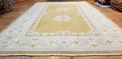 Primitive Vintage 1950-1960's Natural Muted Dye Wool Pile Oushak Area Rug