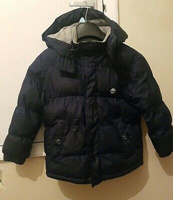 Boys Navy Blue Timberland Hooded Puffa Jacket Age 6