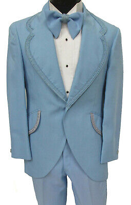 Men's Vintage Light Blue Tuxedo Jacket with Matching Bow Tie 1970s Halloween 56R