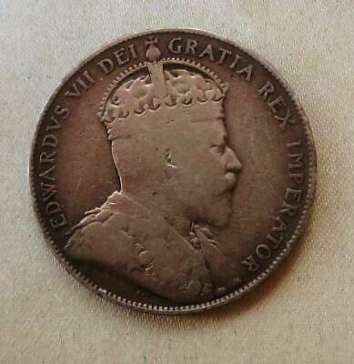 Canada Nice Grade 1907 Sterling Silver ½ Dollar Of Edward VII Free USA Shipping