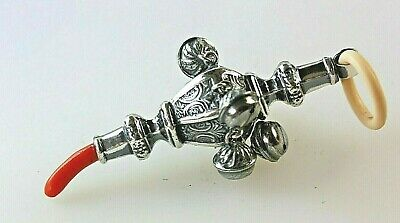 Vintage Style Marked 800 Silver & Coral Baby Chew/ Bell/ Rattle Whistle