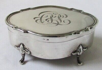 Antq English 1910 Sterling Silver Lidded Trinket Jewelry Footed Jar Box Ex-Cond.