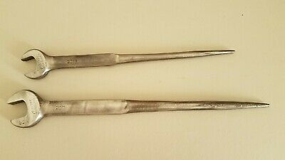 """(2) Williams Hardened Spud Wrenches, 206B 1"""" & 207 1-1/16"""", USA"""