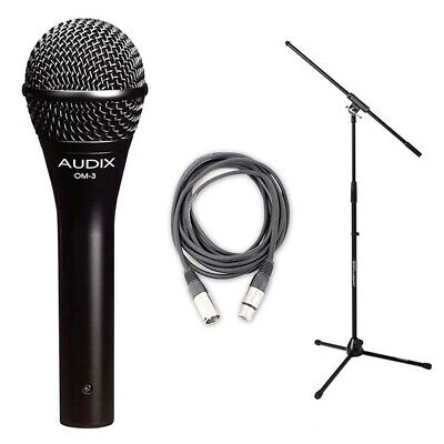 Audix OM3 Dynamic Vocal Mic with 20ft XLR Cable and Stand NEW