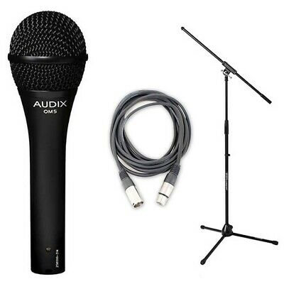 Audix OM5 Hypercardioid Dynamic Mic w/ 20ft XLR Cable and Microphone Stand