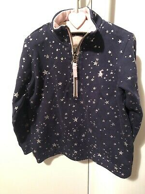 Gorgeous Joules Girls Navy & Pink Silver Star Print Zip Front Sweatshirt 6 Yrs