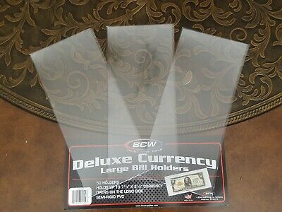 3 Large Semi Rigid DELUXE CURRENCY HOLDER Protector Sleeve Vinyl US Dollar BCW