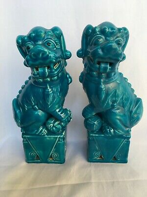 Pair Tall Figures of Chinese Turquoise Guardian Lions Foo Dogs