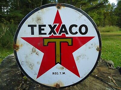 Old Vintage Texaco Gas And Oil Porcelain Metal Gas Oil Sign! Pump Plate Red Star