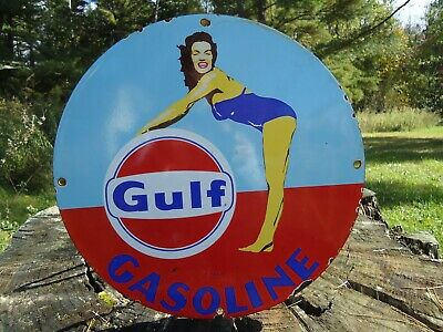 Old Vintage Gulf Gasoline Porcelain Enamel Gas Pump Sign