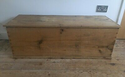 Old antique pine blanket chest or coffee table