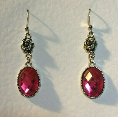 Victorian Style Hot Pink Acrylic Crystal Dark Silver Plated Rose Earrings Rs